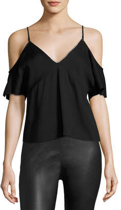 T by Alexander Wang Stretch Crepe Cold-Shoulder Top, Black