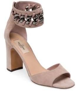 Valentino Metal-Weave Suede Block Heel Sandals