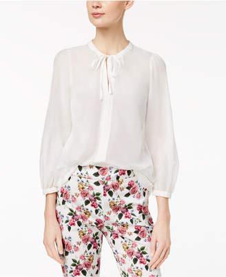 Marella Silk Blend Semi-Sheer Tie-Neck Blouse