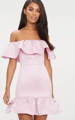 PrettyLittleThing Dusty Pink Jacquard Bardot Frill Bodycon Dress