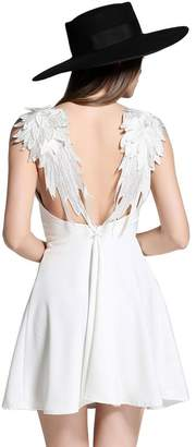 Choies record your inspired fashion Women's Plunge V-Neck Angel Wings Open Back Skater Cami Mini Dress L