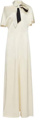 Lanvin Flutter Short Sleeve Satin Gown with Neck Tie $3,690 thestylecure.com
