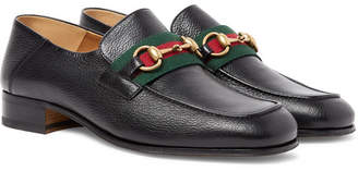 134475b2000 Gucci Bonny Horsebit Collapsible-Heel Webbing-Trimmed Full-Grain Leather  Loafers