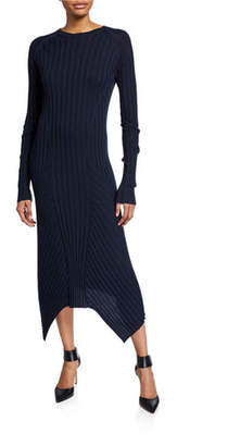 Helmut Lang Long-Sleeve Fine Wool Rib Dress