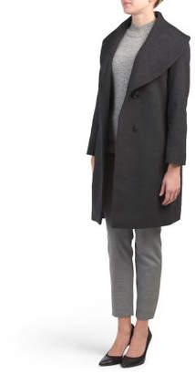 Petite Wool Blend Shawl Collar Coat