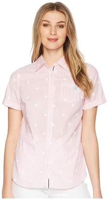 U.S. Polo Assn. Short Sleeve Stripe Dot Poplin Blouse Women's Blouse