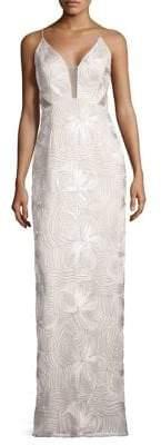 Aidan Mattox Piped Sleeveless Gown