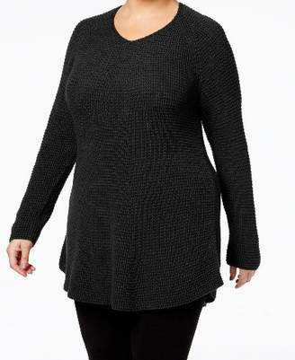 Style&Co. Style & Co. Womens Plus Waffle-Knit Cotton Tunic Top Black