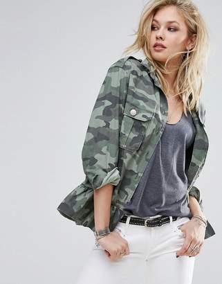 Replay Camo Military Jacket with Frill Hem