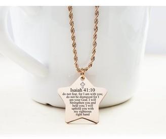 Pink Box Star Tag Necklace - ISAIAH 41:10