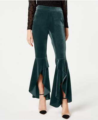 INC International Concepts I.n.c. Velvet Ruffled Slit-Leg Pants