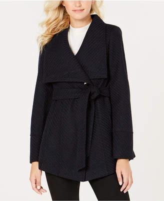 INC International Concepts I.n.c. Petite Textured Wrap Coat
