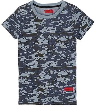Haus of JR Kids' Howard Pixelated-Camouflage Cotton T-Shirt