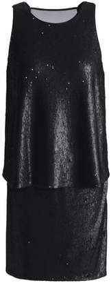 Halston Chiffon-Paneled Layered Sequined Tulle Mini Dress