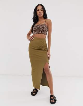 Asos Design DESIGN twist knot rib maxi tube skirt