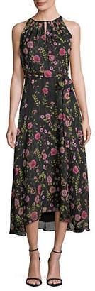 Tahari Floral Chiffon Hi-Lo Midi Dress