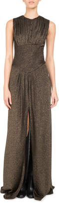 Neiman Marcus Pascal Millet Metallic Jersey Slit-Front Gown, Gold