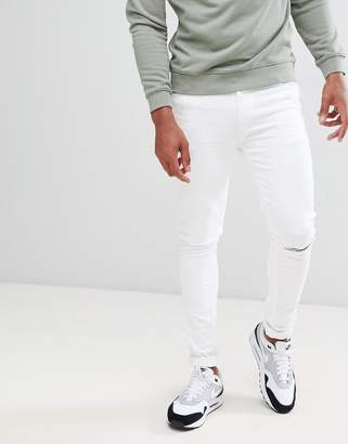 Asos Super Skinny In White With Knee Rips