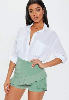 Missguided Green Scuba Frill Skort