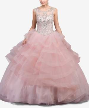 Dancing Queen Juniors' Cutout Rhinestone-Embellished Corset Ballgown
