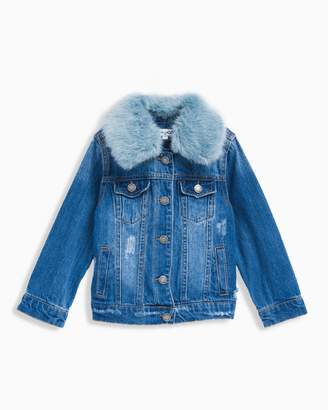 Splendid Little Girl Faux Fur Collar Jacket