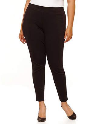 Boutique + + Side Suede Panel Knit Pants-Plus