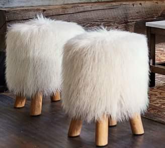 Pottery Barn Mongolian Faux Fur Stool