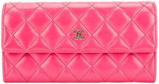 Chanel Pink Quilted Lambskin Leather Long Wallet (Pre Owned)