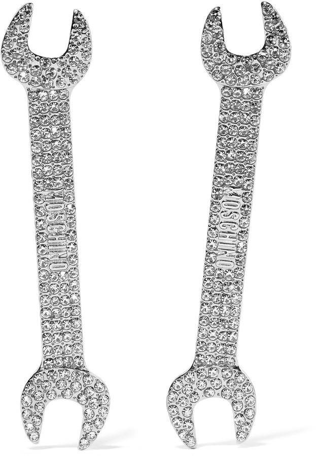 Moschino Moschino Silver-tone crystal earrings