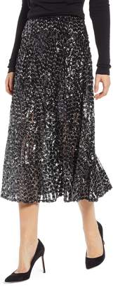 Something Navy Sequin Midi Skirt