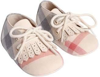 Burberry Check Cotton Lace-Up Shoes