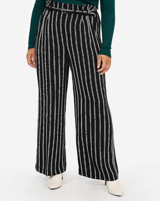 Express High Waisted Striped Belted Wide Leg Pant