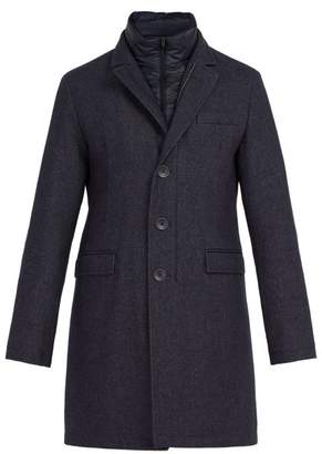 Herno Single Breasted Quilted Frosted Wool Blend Coat - Mens - Navy