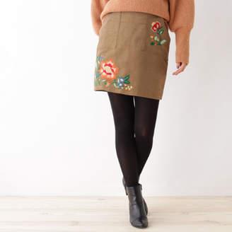 OZOC (オゾック) - OZOC コーデュロイ刺繍ミニスカート
