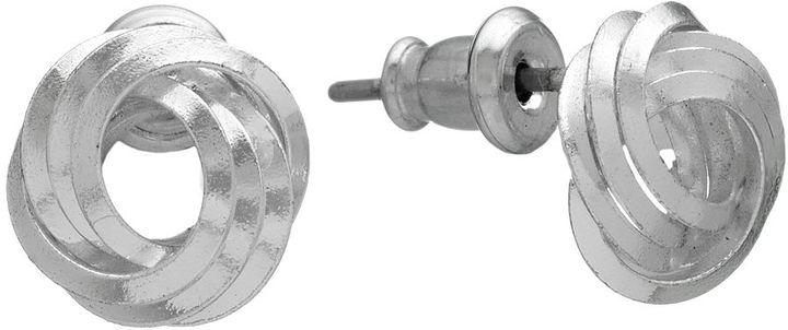 Napier Silver Tone Knot Stud Earrings