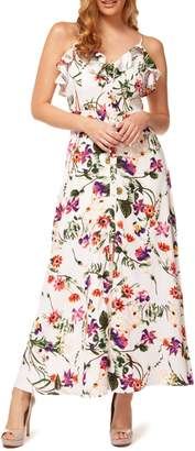 Dex Floral-Print Button-Front Maxi Dress