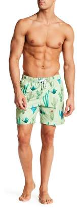 Franks Cactus Print Mid Length Swim Trunks