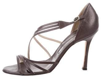Brian Atwood Metallic Multistrap Sandals