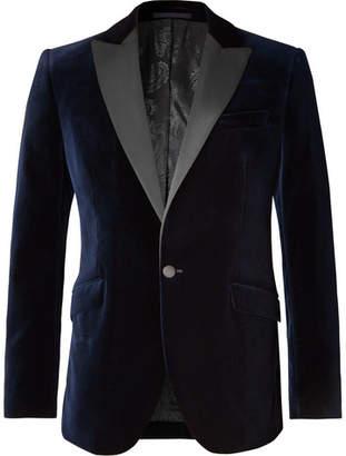 Favourbrook Navy Slim-Fit Grosgrain-Trimmed Cotton-Velvet Tuxedo Jacket