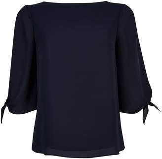 Dorothy Perkins Womens **Billie & Blossom Navy Tie Sleeve Blouse