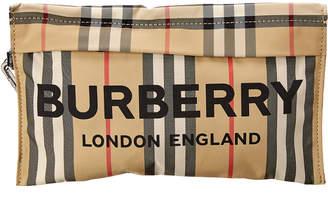 Burberry Pebble Logo Print Icon Stripe Zip Pouch