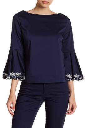 Laundry by Shelli Segal Embroidery Edged Sleeve Poplin Shirt