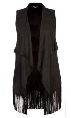 City Chic Stone Drape Fringe Vest
