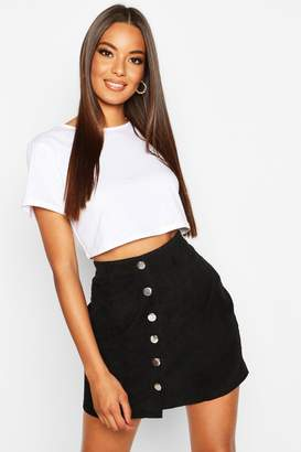 boohoo Button Through Cord Mini Skirt
