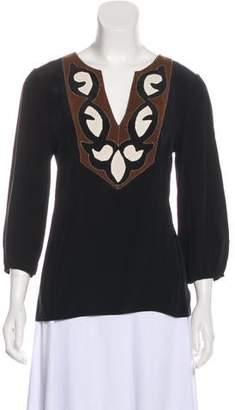 Tibi Long Sleeve Silk Blouse