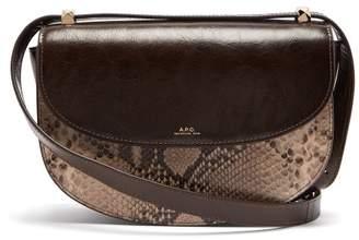 A.P.C. Geneve Snake Print Leather Cross Body Bag - Womens - Brown Multi