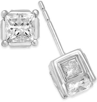 Macy's Diamond (2 ct. t.w.) Spiral Bezel Stud Earrings in 14k Yellow or White Gold