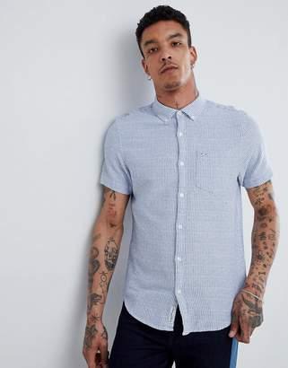 Original Penguin Textured Stripe Short Sleeve Shirt Buttondown Slim Fit Embroidered Logo in Blue