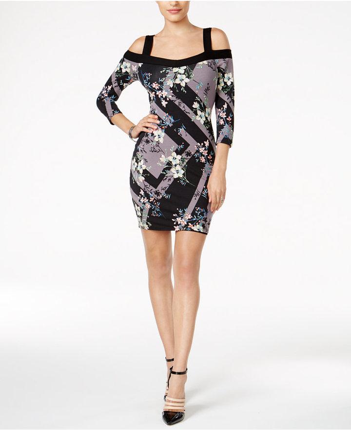 Guess Mixed-Print Cold-Shoulder Dress