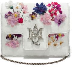 Alexander McQueenAlexander McQueen Flocked Floral Chain Shoulder Bag, White